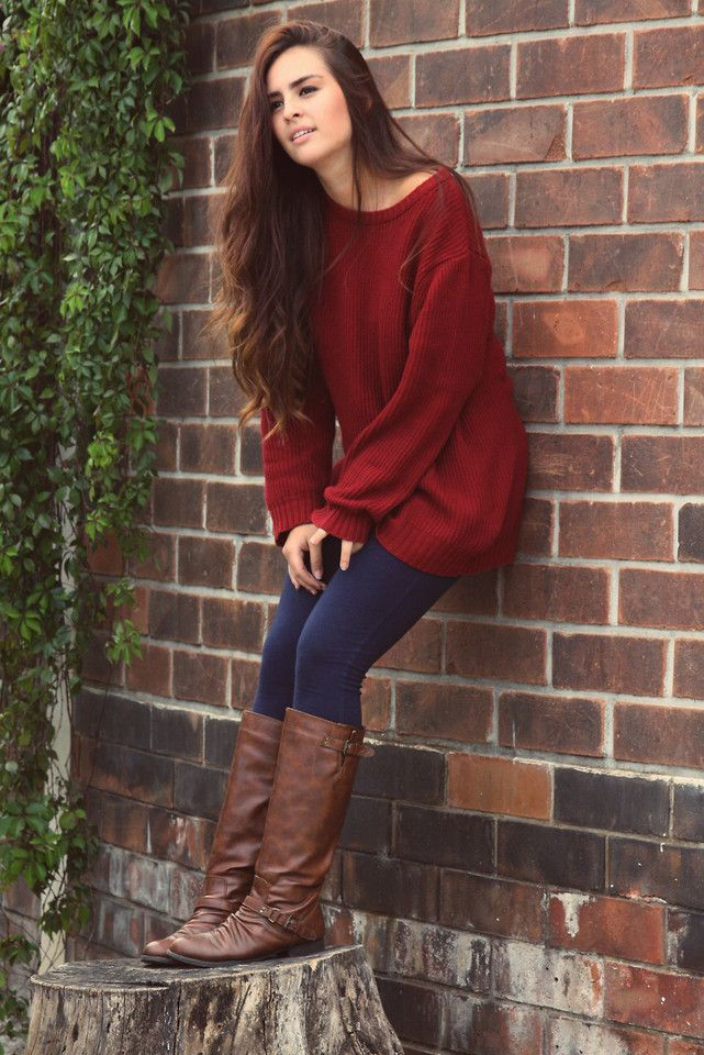 218937-Red-Sweater-With-Jeans-And-Brown-Boots