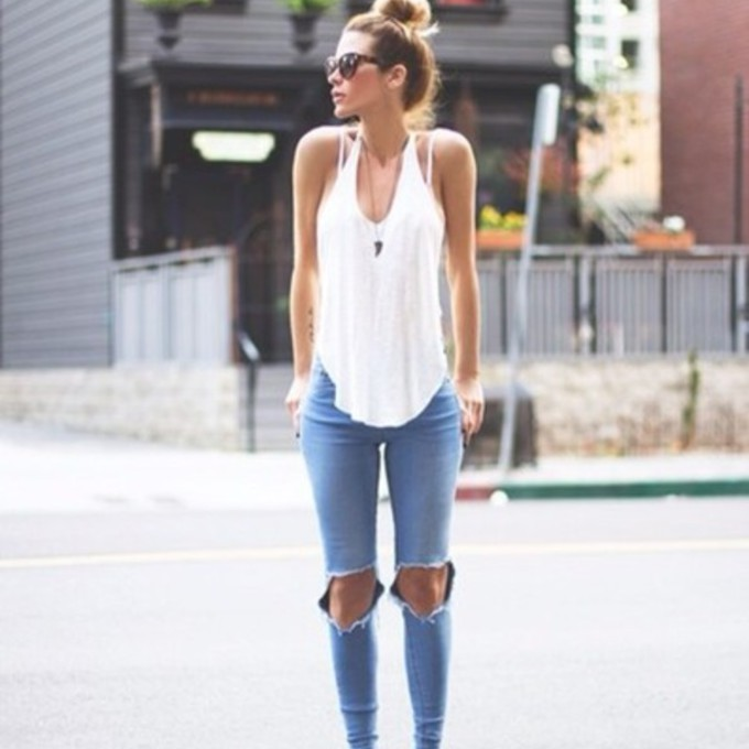 aj7dcs-l-c680x680-clothes-jeans-shoes-t+shirt-celebs-style-swag-swaggie-white-shirt-girly-tank-sunglasses--ripped+jeans-bun-pants-denim-high+waisted+jeans-high+waisted+pants-blouse-girl-