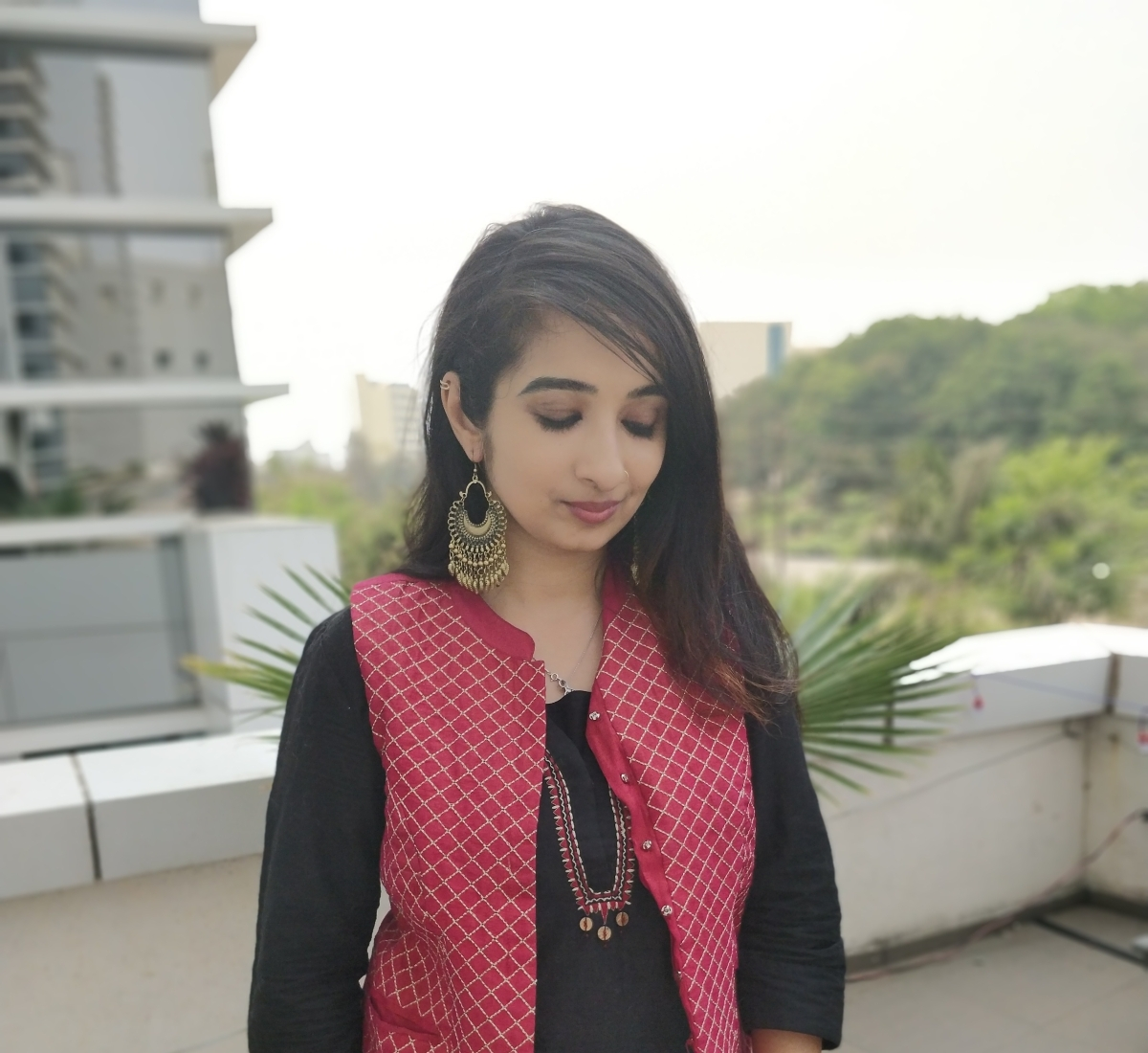OOTD : Black Kurti and Maroon Jacket Outfit
